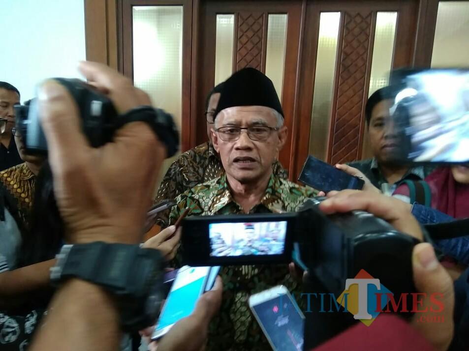 Ketua Umum Pimpinan Pusat Muhammadiyah Haedar Nashir. (Foto: Imarotul Izzah/MalangTIMES)