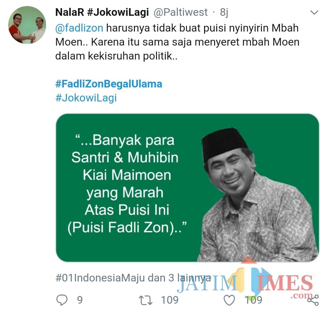 Screenshot cuitan warganet yang marah atas puisi Fadli Zon (Nana)