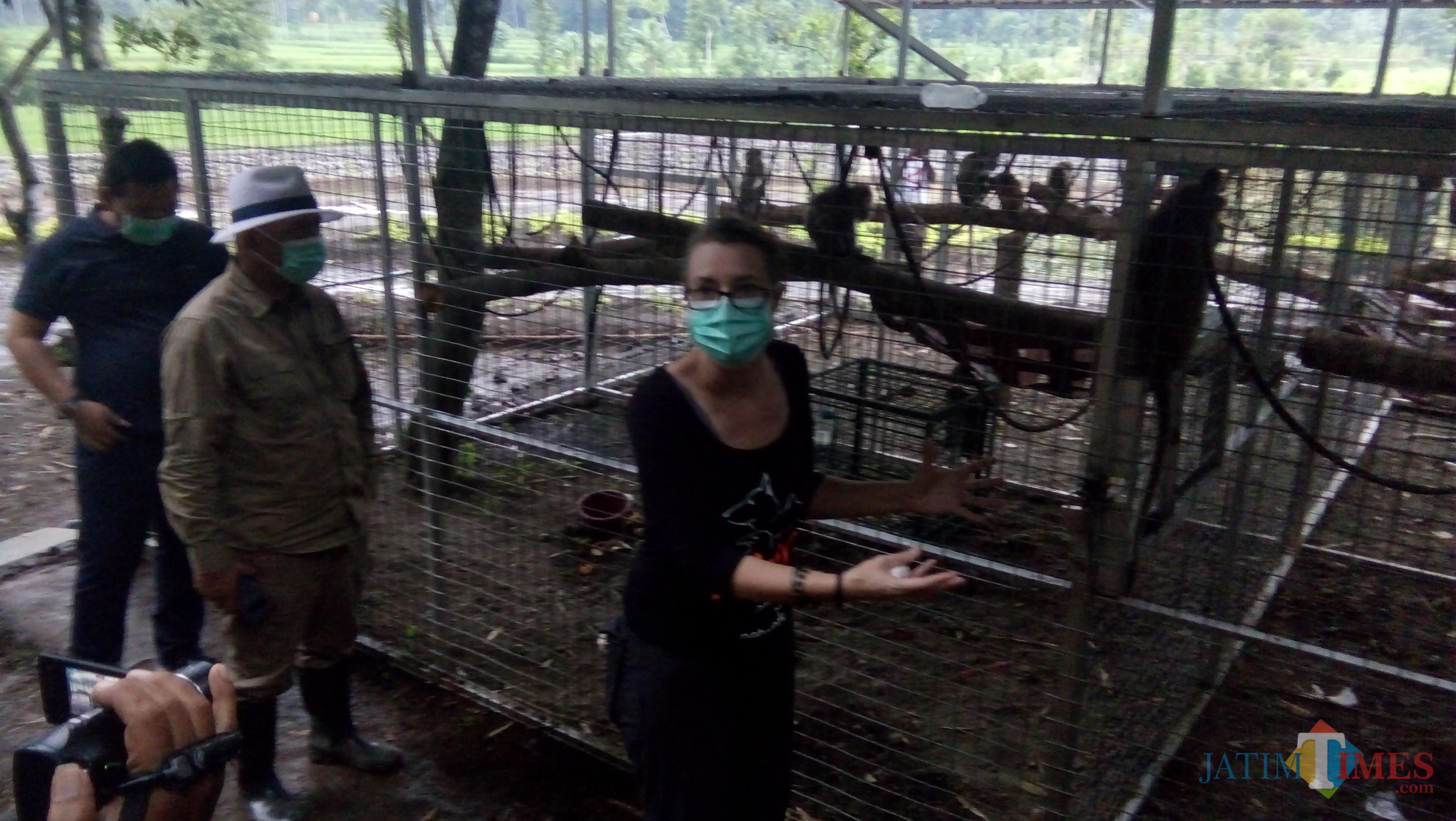 Luis dari Jakarta Animal Aids Network bersama H. Arum Sabil di lokasi kandang transit (foto : Moh. Ali Makrus / Jatim TIMES)