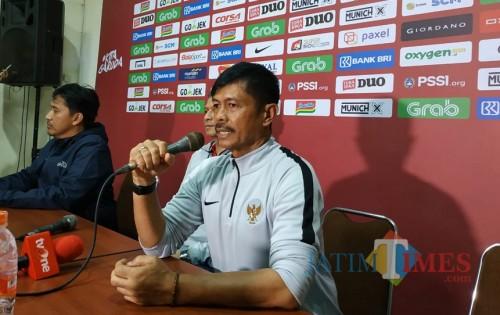 Indra Sjafri saat sesi konferensi pers usai pertandingan melawan Arema FC (Hendra Saputra)
