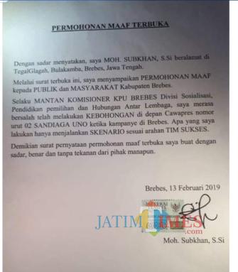Surat terbuka permohonan maaf M Subkhan yang membuat Sandiwara Uno terus bergulir (Ist)