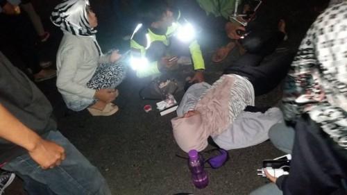 Korban kecelakaan akibat jalan berlubang di Jalibar, Kecamatan Kepanjen (Foto : Facebook)
