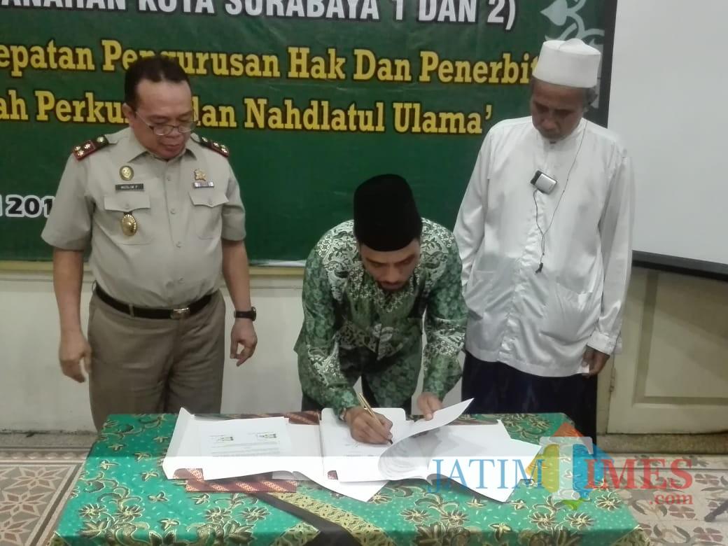 Penandatanganan MoU BPN Surabaya dengan PCNU Kota Surabaya