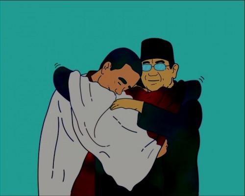 Bayangkan saja, saat dua insan capres ini menangis bersama dan saling memeluk dalam dekapan Roy Kiyoshi (Ist)