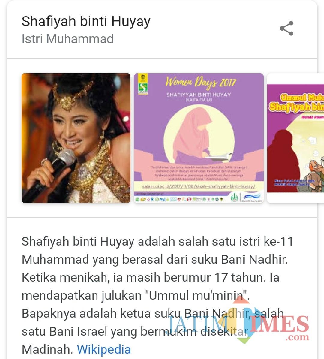 Foto Dewi Persik yang disematkan dalam biodata istri Nabi Muhammad SAW bernama Shafiyah binti Huyay. (screenshot google)