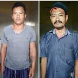 Komari beserta Miseman tersangka pencurian kayu saat diamankan polisi, Kecamatan Bantur (Foto : Polsek Bantur for MalangTIMES)