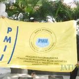 Bendera PMII yang digelar dalam aksi kemarin (19/2/19)