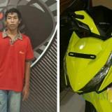 Dewo, akhirnya bisa dibekuk di Bali berikut barang bukti sepeda motornya (Foro : Moch. R. Abdul Fatah / Jatim TIMES)