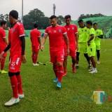 Pemain Arema FC saat menjalani latihan di Stadion Gajayana (Hendra Saputra)