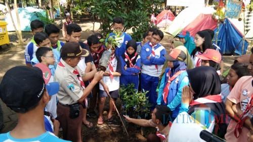 pendamping memberikan edukasi tentang cara penanaman pohon yang benar