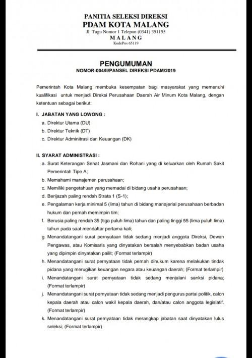 Pengumuman seleksi direksi PDAM Kota Malang. (Istimewa)