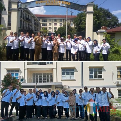 Rombongan DPKPCK dan pengurus Korpri Kabupaten Malang saat berada di Makassar untuk study banding pengelolaan Rusunawa ASN (DPKPCK for MalangTIMES)