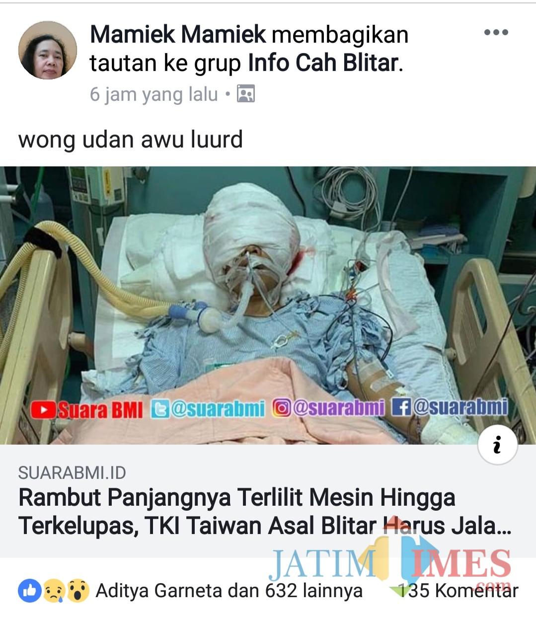 Postingan di FB yang mengabarkan TKI alami luka karena tersangkut mesin di Taiwan