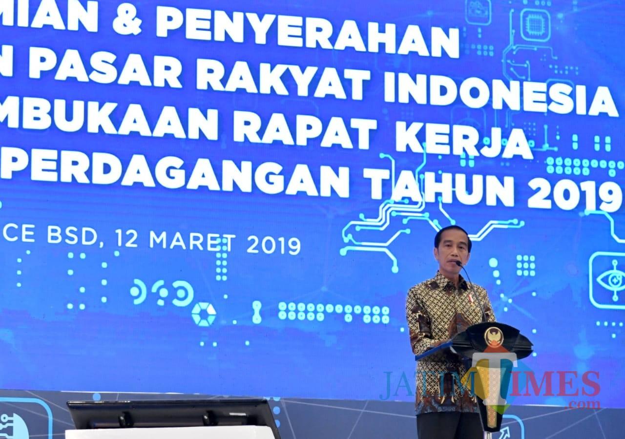 Presiden Jokowi saat membuka Rakernas Kemendag 2019 di Jakarta. (Foto: Humas Pemkot Malang for MalangTIMES)