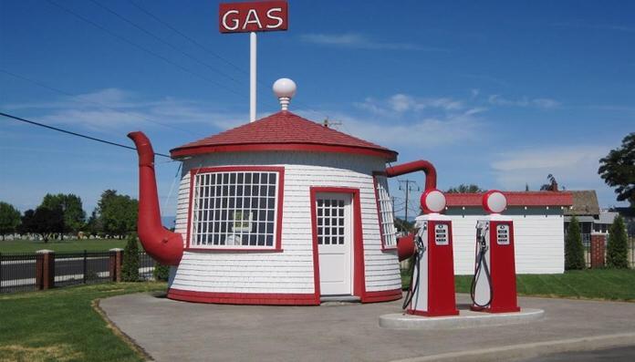 Berbentuk teko, namanya The Teapot Dome Service Station merupaka SPBU unik di Amerika Serikat. (Foto: ist)