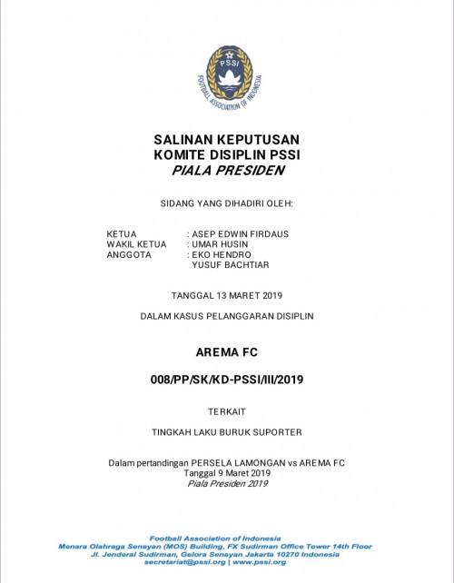 Salah satu surat keputusan sanksi yang diberikan Komdis kepada Arema FC (istimewa)