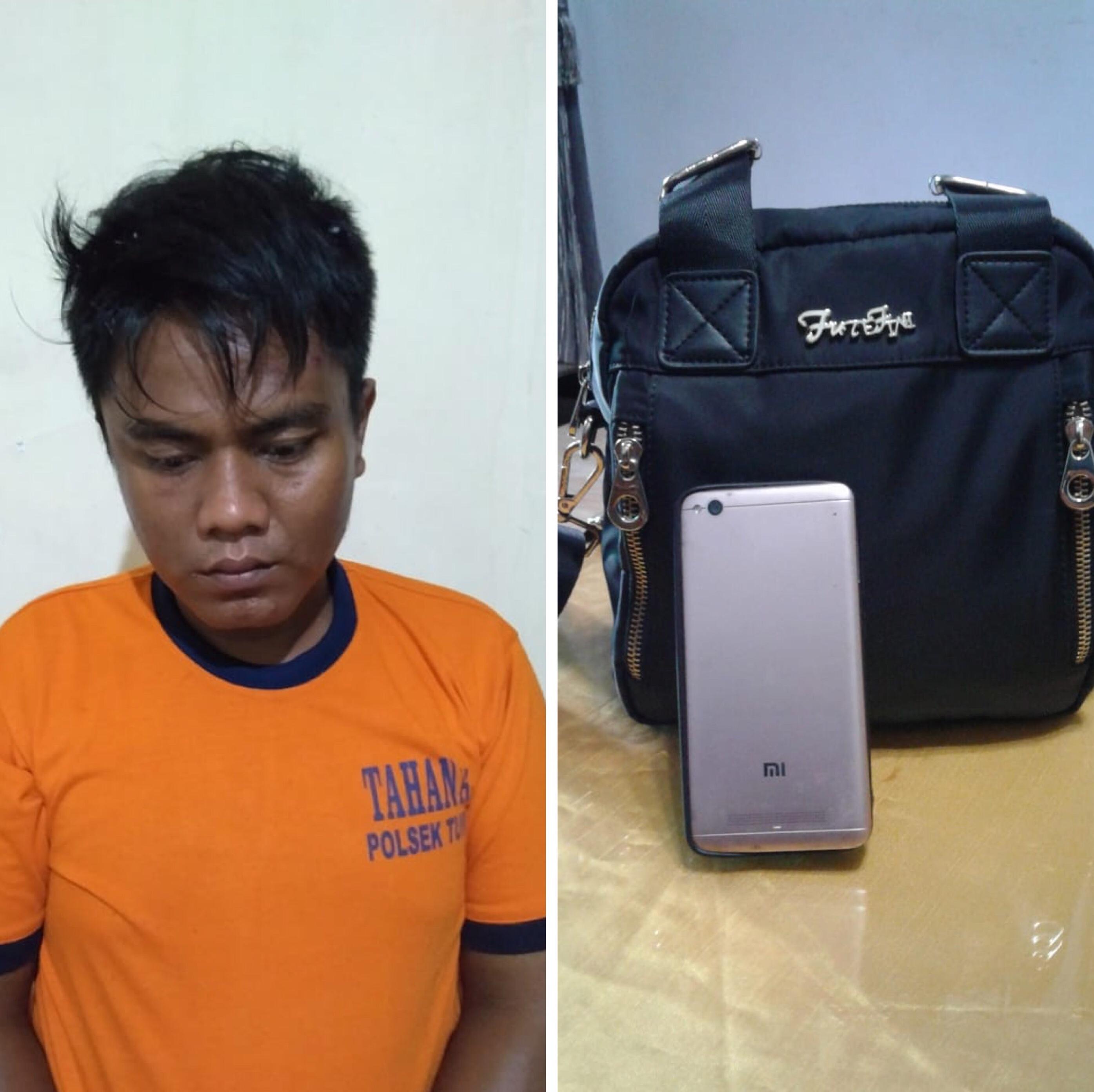 Mohammad Hasanudin tersangka beserta barang bukti hasil curian saat diamankan polisi, Kecamatan Turen (Foto : Polsek Turen for MalangTIMES)