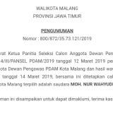 Pengumuman hasil seleksi Dewan Pengawas PDAM Kota Malang