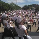 Para emak-emak asyik senam untuk capres 01 di Pinka Tulungagung / Foto : Anang Basso / Tulungagung TIMES