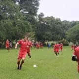 Pemain Arema FC ketika menjalani latihan fisik (Hendra Saputra)