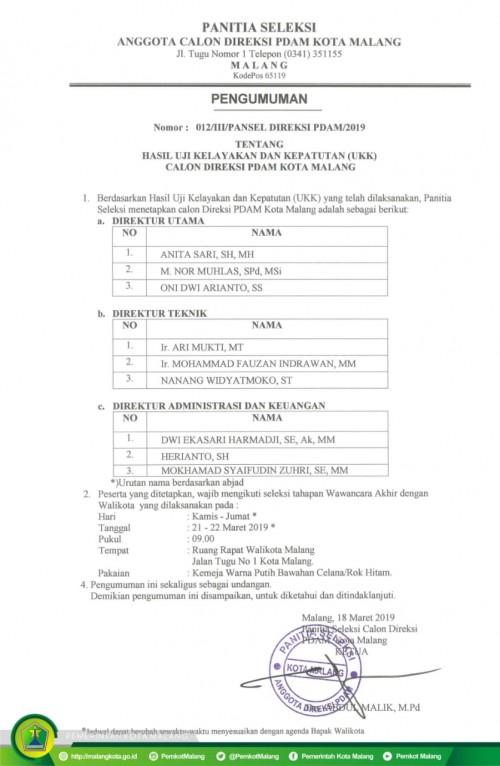 Pengumuman seleksi direksi PDAM Kota Malang (Istimewa).