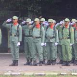 Linmas saat mengikuti upacara di alun-alun Kota Probolinggo beberapa hari kemarin  (Agus Salam/Jatim TIMES)