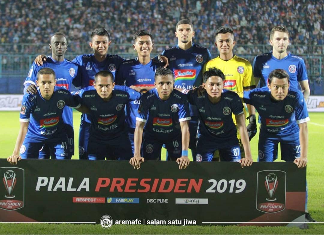 Skuat Arema FC ketika akan menghadapi Barito Putera di Piala Presiden 2019 (official Arema FC)