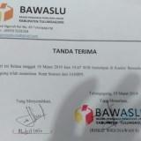Tanda terima Surat dari Bawaslu untuk aduan JAMPPI / Foto : Istimewa / Tulungagung TIMES