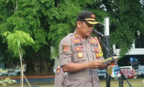 Kapolres Malang Kota AKBP Asfuri dalam giat apel bersama Forkopimda Kota Malang. (Foto: Dokumen MalangTIMES)