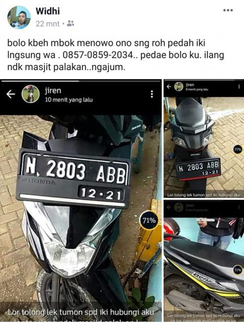 Motor Honda Beat yang hilang karena dicuri ketika diparkir di halaman masjid di Kecamatan Ngajum (Foto : Istimewa)
