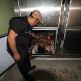 Petugas kamar mayat RSUD dr Muhamad Saleh  menunjukkan jasad Munif yang tersimpan di kotak pendingin. (Agus Salam/Jatim TIMES)