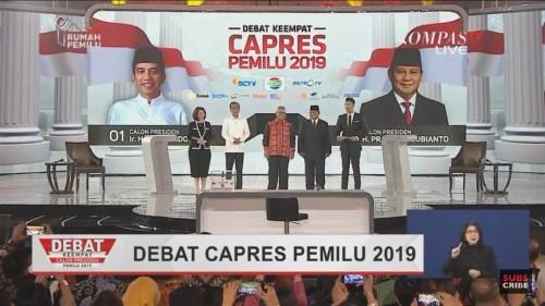 Suasana debat keempat capres Pileg 2019. (twitter @SvtMingvyu).