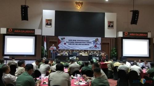 Kegiatan rakor kewaspadaan jelang Pemilu 2019 di Kota Malang. (Foto: Nurlayla Ratri/MalangTIMES)