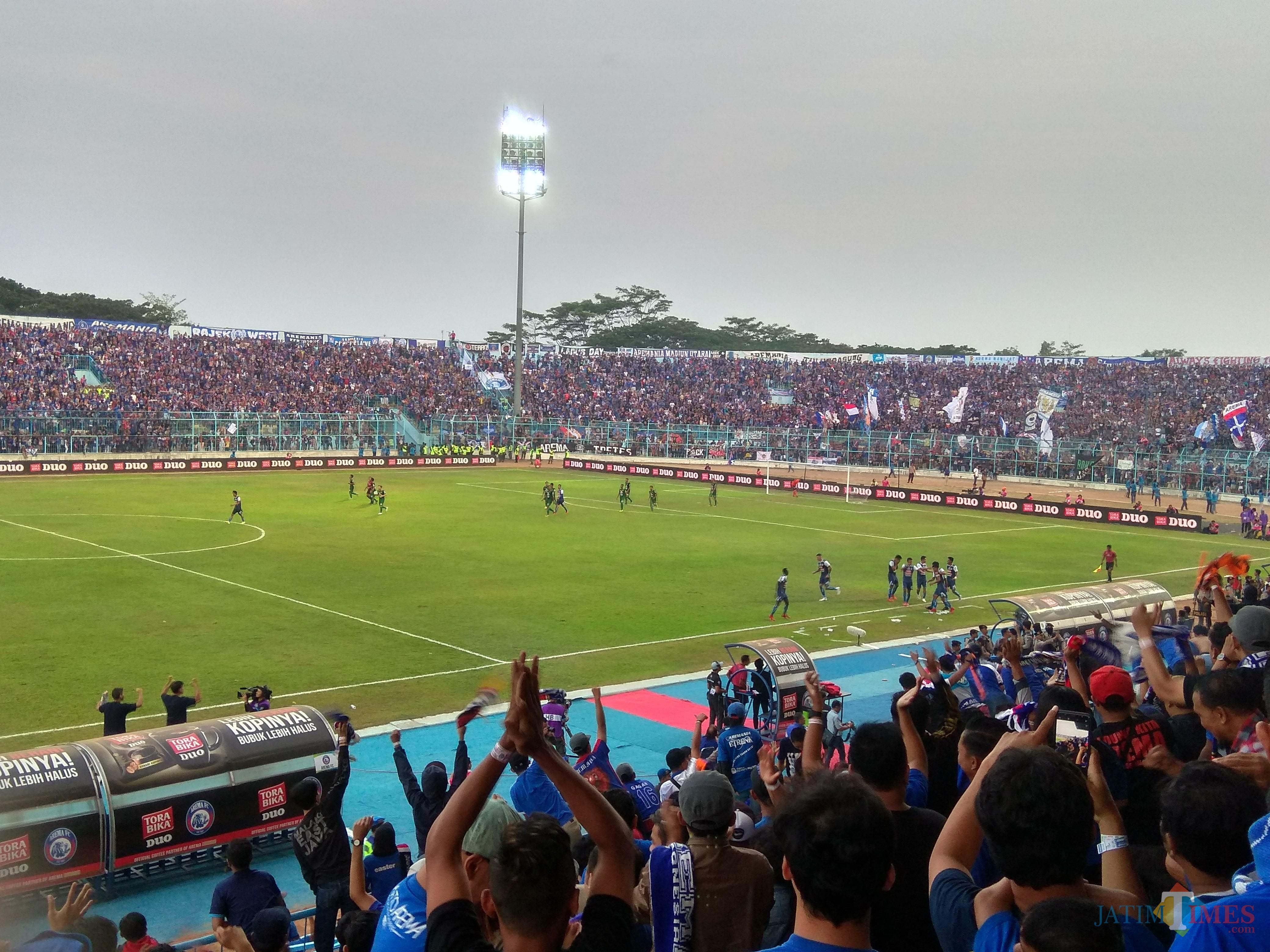Suasana salah satu pertandingan Arema FC musim 2018 silam. (Hendra Saputra)