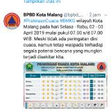 Nihil Peringatan Dini, BPBD Tetap Ingatkan Warga Kota Malang Waspada Bencana