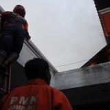 Anggota pemadam kebakaran saat berusaha memadamkan api yang mulai merembet ke