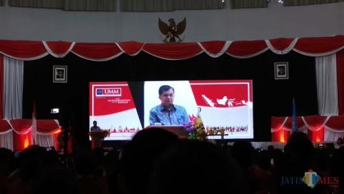 Wakil Presiden M. Jusuf Kalla saat hadir dalam Festival Kebangsaan di Universitas Muhammadiyah Malang (UMM). (Pipit Anggraeni/MalangatIMES)
