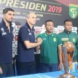 (Dari kiri) Arthur Cunha, Milomir Seslija, Bejo Sugiantoro dan Abdul Rahim saat sesi konferensi pers sebelum final Piala Presiden 2019. (Hendra Saputra)