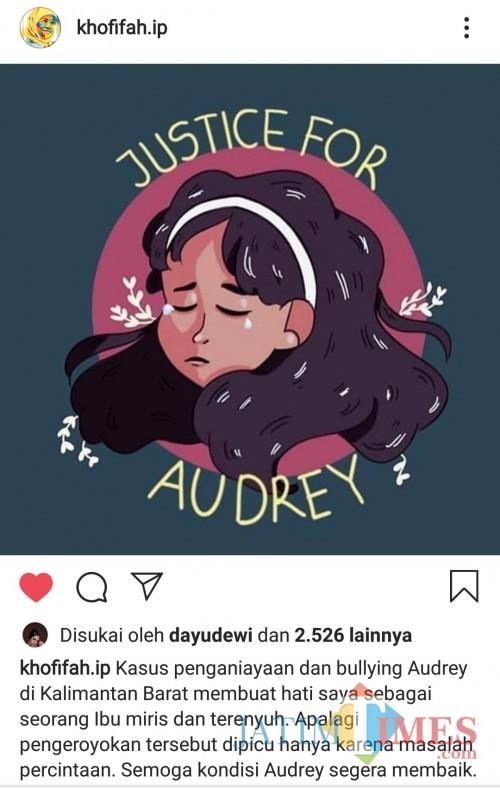 Tangkapan layar unggahan akun resmi Khofifah Indar Parawansa terkait kasus Audrey. (Foto: Dokumen MalangTIMES)