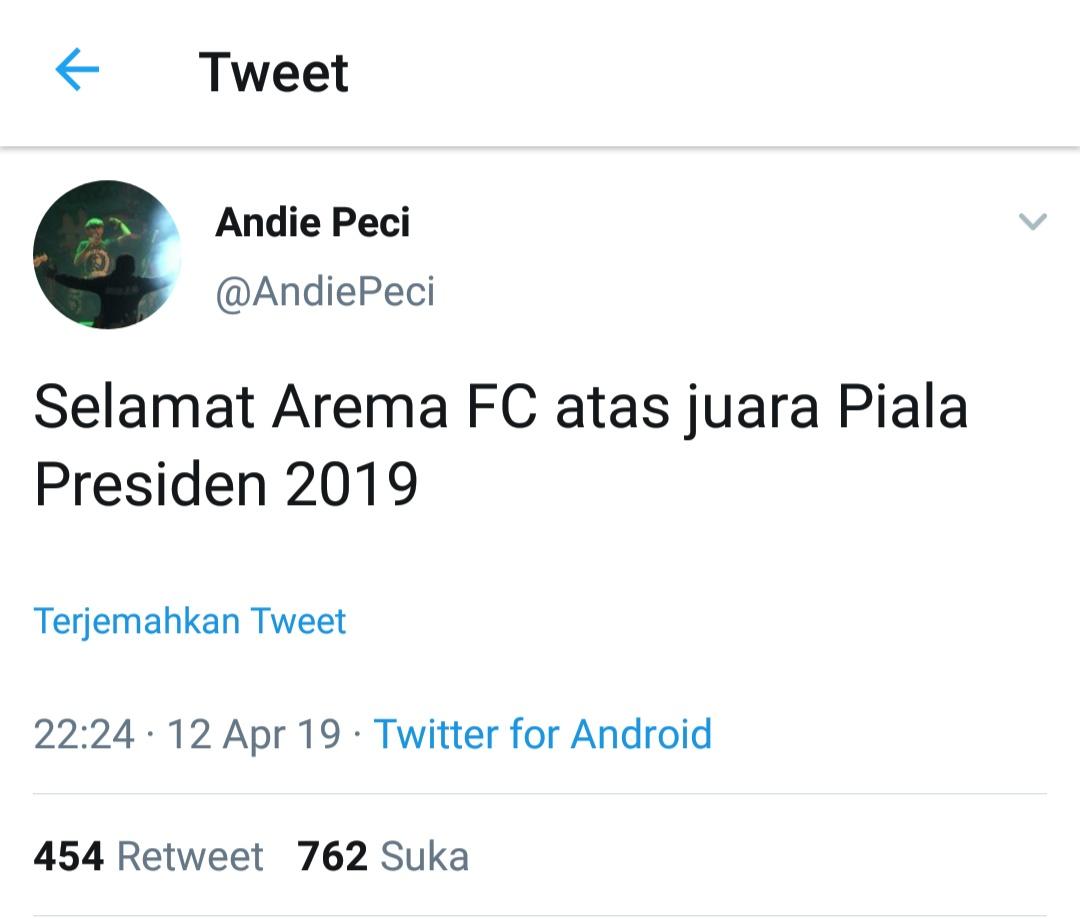 Cuitan Andie Peci yang mengucapkan selamat untuk Arema FC (screenshot Twitter @AndiePeci)