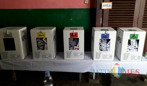Ilustrasi kotak suara di TPS 53 Kelurahan Bunulrejo, Kota Malang. (Foto: Nurlayla Ratri/MalangTIMES)