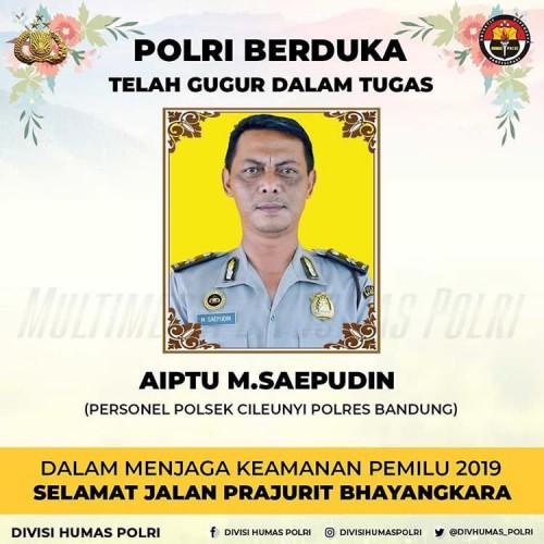 Aiptu M Saepudin meninggal karena kelelahan saat bertugas pam di Bandung. (Foto: Instagram @divisihumaspolri)