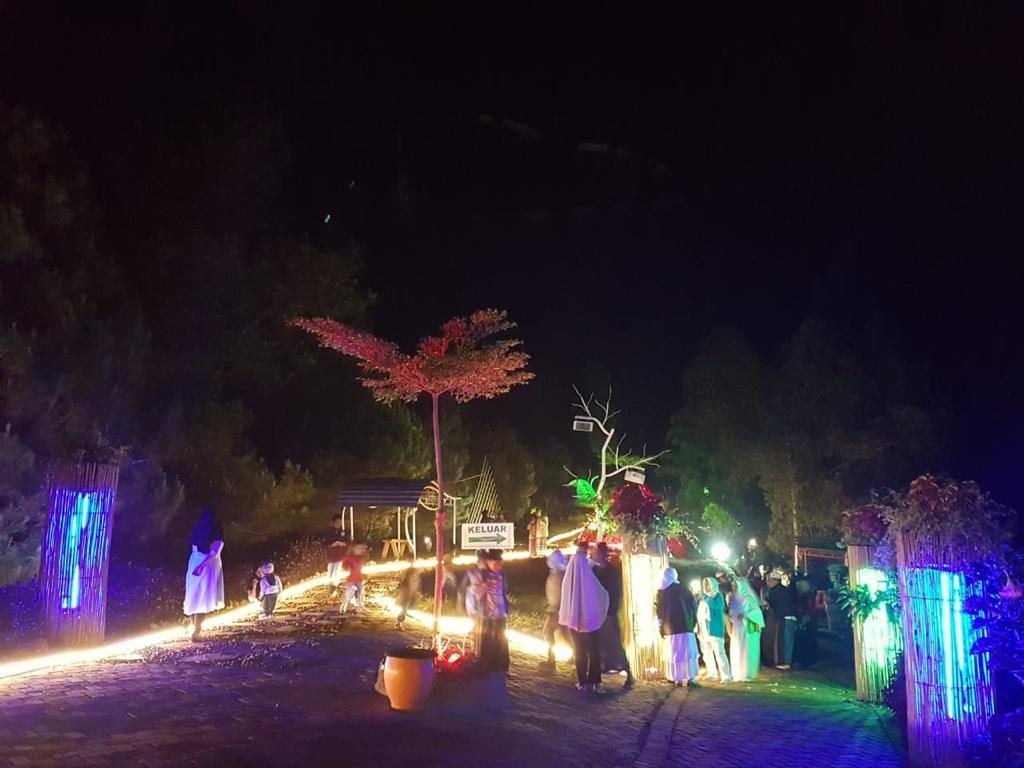 Salah satu spot saat malam hari di Taman Langit Wana Wisata Paralayang Gunung Banyak Kelurahan Songgokerto Kecamatan Batu Kota Batu. (Foto: istimewa)