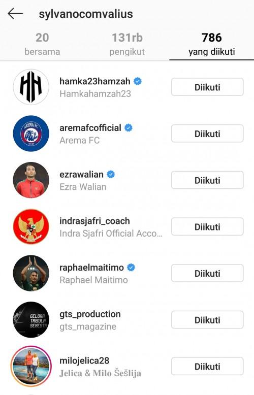 Screenshot teman yang diikuti Sylvano Comvalius (Instagram @sylvanocomvalius)