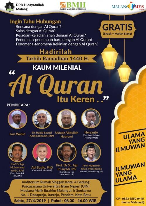 Flyer acara Tarhib Ramadan bertajuk 'Kaum Milenial, Alquran itu Keren'. (Foto: doc. MalangTIMES)