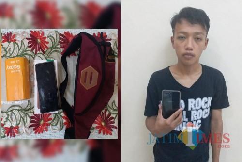 David Irawan tersangka beserta barang bukti hasil curian, saat diamankan pihak kepolisian, Kecamatan Bululawang (Foto : Polsek Bululawang for MalangTIMES)
