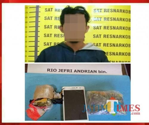 Rio Jefri Andrian tersangka beserta barang bukti narkoba saat diringkus petugas kepolisian, Kabupaten Malang (Foto : Humas Polres Malang for MalangTIMES)