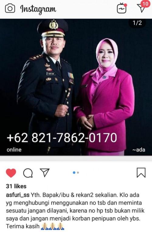 Nomor WhatsApp yang mengaku dan menggunakan foto Kapolres Malang Kota (ist)