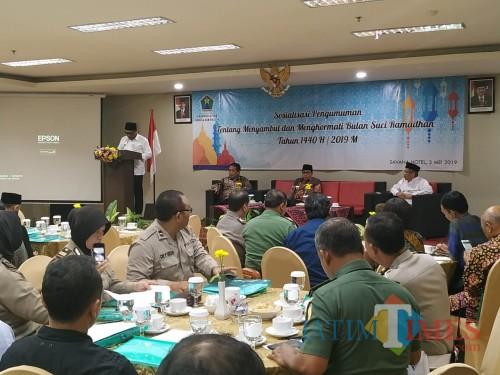 Sosialisasi pengumaman tentang menyambut bulan suci ramadan di Hotel Savana Kota Malang (Pipit Anggraeni/MalangTIMES).