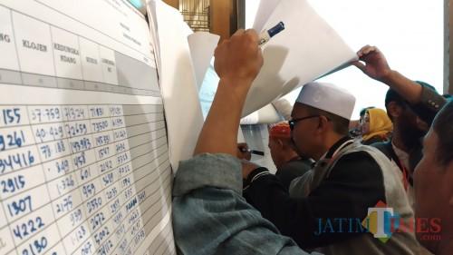 Saksi menandatangani DB1-Plano dalam rapat pleno terbuka rekapitulasi hasil Pemilu 2019 di Hotel. Harris Malang (Pipit Anggraeni/MalangTIMES).